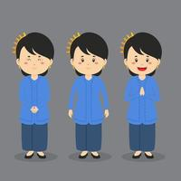 Sundanese Indonesia Character with Various Expression vector