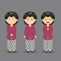 Yogyakarta Indonesia Character with Various Expression vector