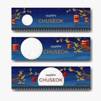 Chuseok Mid Autumn Festival Banner vector