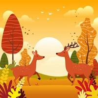 Deer in the Autumn Forest vector