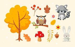 elemento de otoño de flora y fauna vector