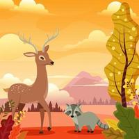 Flora and Fauna in Autumn Forest vector
