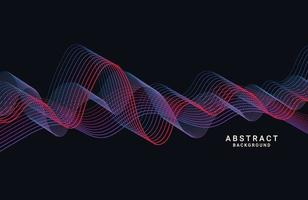 Abstract colorful wave lines on black background vector