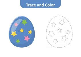 Trace and color for kids, easter egg vector
