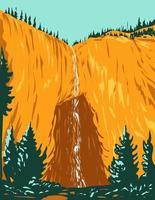 hada cae dentro del parque nacional de yellowstone wyoming wpa poster art vector