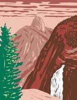 illilouette falls parque nacional de yosemite california usa wpa poster art vector