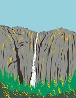 ribbon falls el capitan en el parque nacional de yosemite usa wpa poster art vector