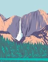 yosemite falls en el parque nacional de yosemite en california wpa poster art vector