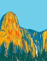 Sentinel Falls and Rock in Yosemite National Park WPA Poster Art vector