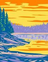 lago de cinta del parque nacional de yellowstone montana estados unidos wpa poster art vector