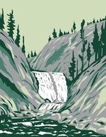 mystic falls dentro del parque nacional de yellowstone wyoming wpa poster art vector