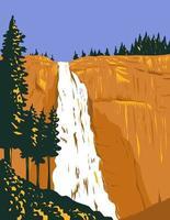 Nevada Falls Within Yosemite National Park USA WPA Poster Art vector