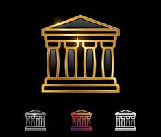 Golden Greek Temple Vector Sign