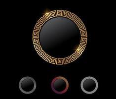 Golden Greek Symbol Circle Vector Sign