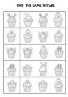 Encuentra dos cupcakes de Halloween iguales. hoja de trabajo en blanco y negro. vector