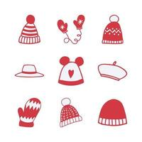 Set of Hand-drawn Winter Clothing Item Vector Icons