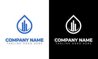 accounting or real estate. Logo commercial building and chart bars vector
