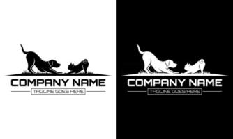 Two Dogs vector template with black and white background