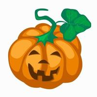 Big orange pumpkin with eyes cut out nose and  mouth for Halloween. vector