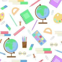 Seamless pattern with stationery for study or office vector