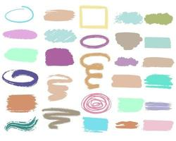 Un conjunto de trazos y manchas de diferentes colores y formas vectoriales. vector