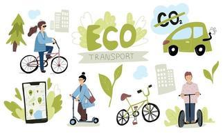 Eco Urban City Transport Set Woman riding electric kick scooter vector