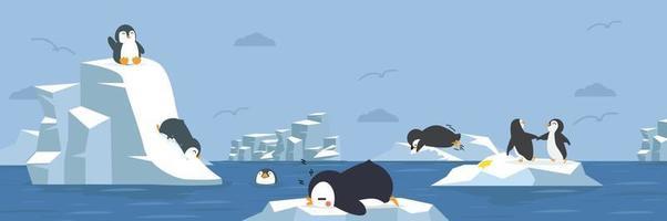 pingüinos animales con fondo ártico vector