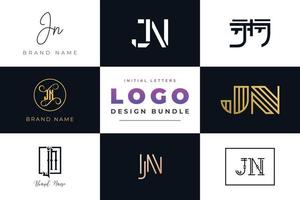 Set of collection Initial Letters JN Logo Design. vector