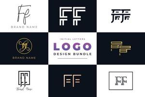 Set of collection Initial Letters FF Logo Design. vector
