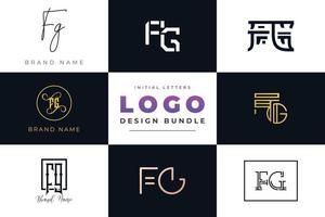 Set of collection Initial Letters FG Logo Design. vector