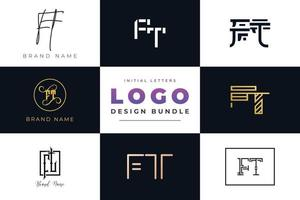 Set of collection Initial Letters FT Logo Design. vector