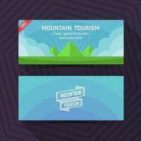 Mountain tourism template, ticket card design element. Vector
