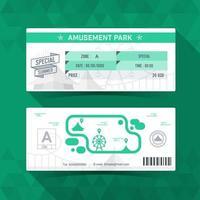Amusement park Ticket. Card Element Design. Vector illustration