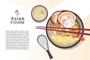 Ramen noodle, Traditional Asian noodle soup, Illustration vector. vector
