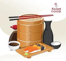 Japanese food vector sushi on plate sashimi roll nigiri Vector
