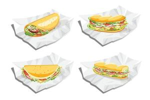 Breakfast sandwich, Taco and burrito, Fast food vector illustration