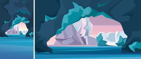 Arctic landscape with ice cave in vertical and horizontal orientation. vector