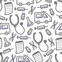 Hand drawn seamless pattern of medicne doodle elements vector