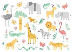 conjunto de lindos animales del zoológico africano vector