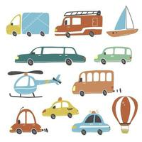 Set of kids style trasport. Vector illustration.