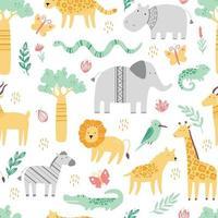 patrón sin fisuras con lindos animales africanos vector