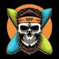 Skull surfing board vector illustration