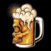 Beer glass skull face vector illustration