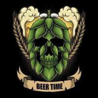 Skull hop fruit beer time vector illustration