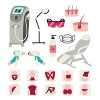 Laser hair removal icon set isolated on white background vector