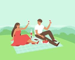 A couple is drinking wine in nature vector