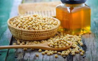 Closeup is some soybeans with wooden spoon photo