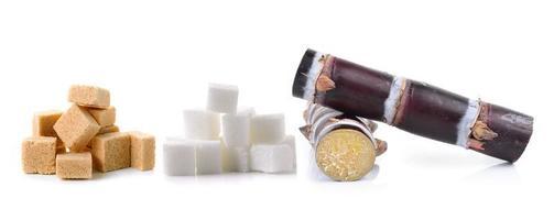 Caña de azúcar y terrones de azúcar sobre fondo blanco. foto