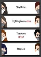 Banner with people wearing face masks for Covid-19 pandemic vector