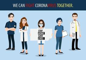 Medical staff holding poster requesting people staying at home vector